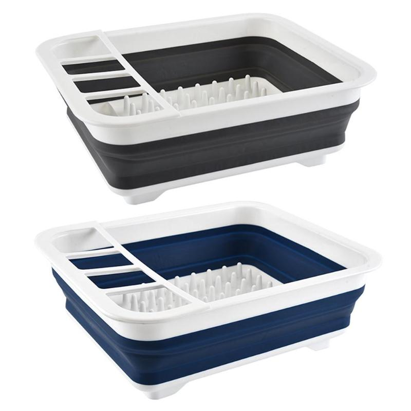Kitchen Accessories Foldable Kitchen Dish Rack Cup Drainer Dry Tableware Organizer Cutlery Storage Box Collapsible Bowls Holder