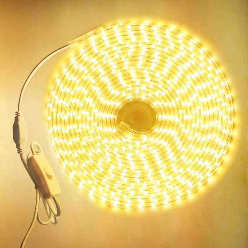 SMD 5050 AC 220V LED bande étanche blanc LED bande chaude blanc bleu LED bande 220v rgb LED dimmable lumière LED 50m 100m