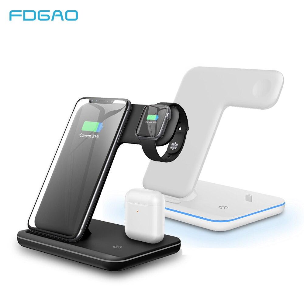 FDGAO 3 en 1 rapide 15W Qi chargeur sans fil pour Iphone 11 X XS XR 10W Charge rapide 3.0 Dock Stand pour Apple Airpods montre 4 3 2 1