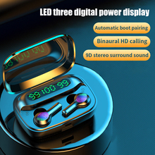 TWS Bluetooth5.0 Earphone Wireless LED 9D Stereo Sound Headphone with Microphone Waterproof Noise Cancel Headset 2000mAh Earbuds