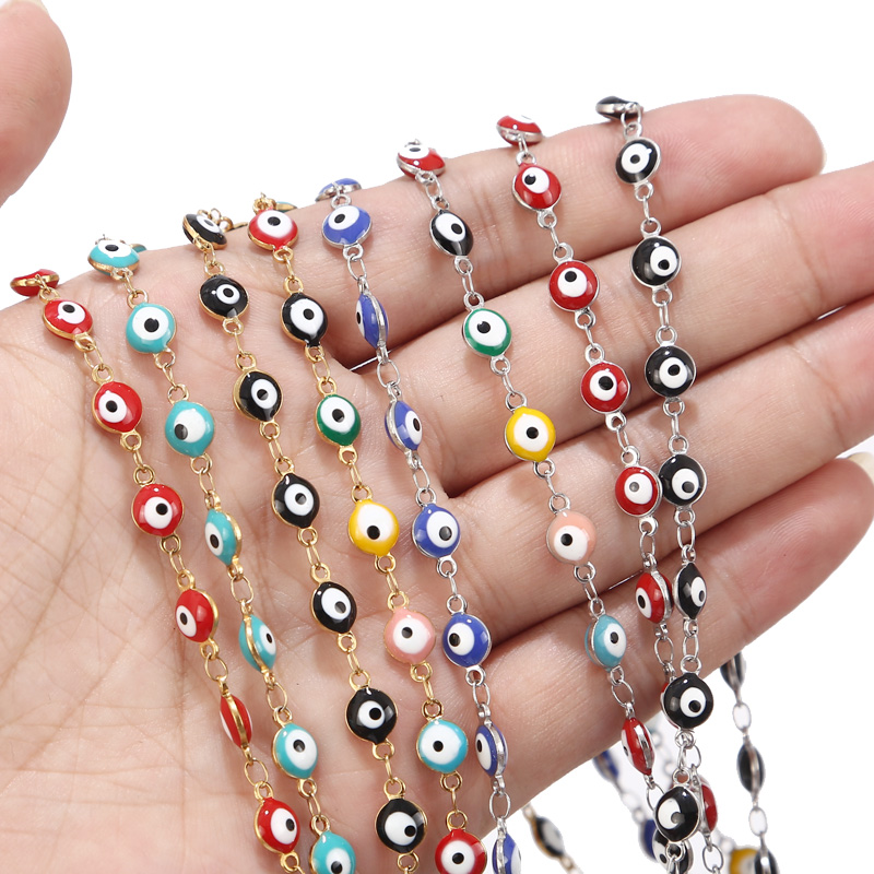 1 Meter 6mm Stainless Steel Evil Eye Chain Gold Black/Red Evil Eye Rosary Beads Chain Wholesale Chain Findings