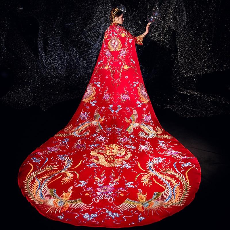 Elegant Embroidery Cheongsam Chinese Vintage Style Women Qipao Lady Phoenix Satin Bride Wedding Dress Marriage Dress Suit