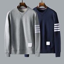 Tb thom marca masculina camisola de manga longa algodão waffle casual stripe moda coreano design alta qualidade casal topo