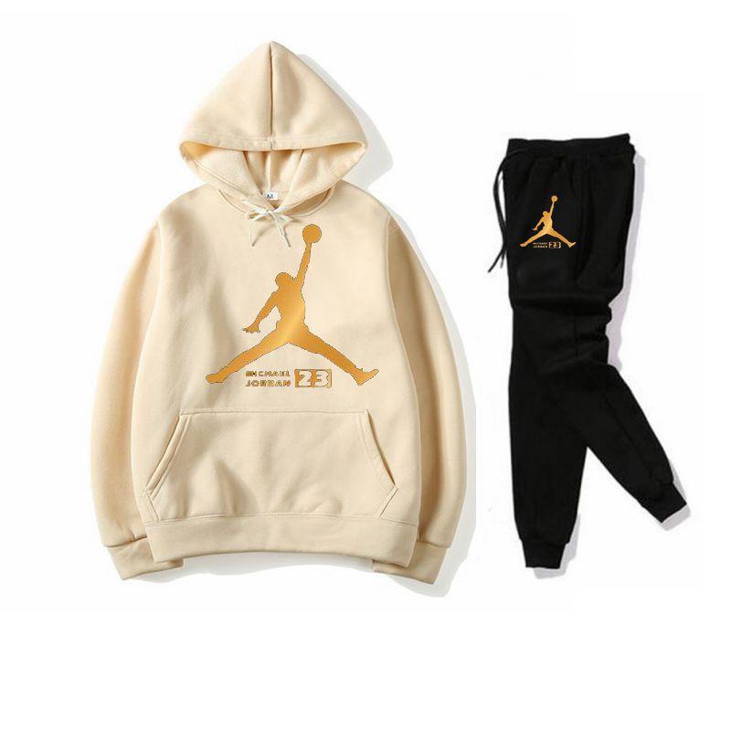 New Tracksuit Women Men Jordan Sportswear Set Fleece Hoodie Suit Letter Print Hombre Spring Autumn Winter Hoodie Pants Set