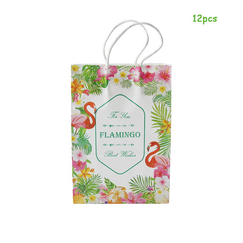 6pcs Tropical Palm Leaves Gift Bags Flamingo Birthday Paper Bag Hawaiiian Party Decorations Aloha Flamingo Flower Bags Gift Box in Gift Bags Wrapping Supplies from Home Garden