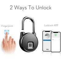 Bloqueio de impressão digital keyless inteligente à prova dwaterproof água app/desbloqueio de impressão digital anti-roubo segurança cadeado porta bagagem caso bloqueio