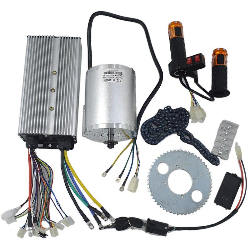 Conjunto do Motor Controlador do Motor sem Escova Reverso da Torção Jogo do Trotinette do Fechamento da Ignição de Potência Elétrico w 48 V-72 50a Acelerador 1 72 v 3000