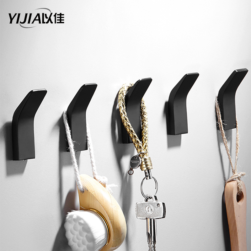 Bathroom Accessories Black Wall Hooks Sticker Adhesive Clothes Coat Hat Hanger Aluminum Bathroom Rustproof Towel Hook