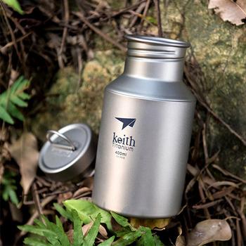 Tytanu butelka wody przenośne wody na zewnątrz butelki z torba na butelkę Ultralight sportowe butelka Hydro Flask Hydro Flask 400ml tanie i dobre opinie KEITH CN (pochodzenie) Oczyszczacz wody z filtrem węglowym Brak Pompa (tłok nacisk) Butelka lub puszka 0 4l OUTDOOR Plecak