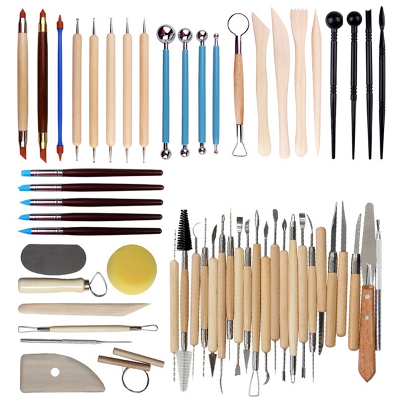 56Pcs Arts Crafts Clay Sculpting Tools Pottery Carving Tool Set Pottery and Amp Ceramics Wooden Handle Modeling Clay Tools