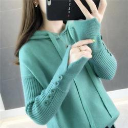 Women Sweater Pullover 2019 New Autumn Winter Green Red Black Gray Tops Women Knitted Pullovers Long Sleeve hooded  Shirt Female