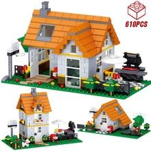 Building-Blocks Architecture Land-House Legoinglys Technic Creator Garden Birthday Home