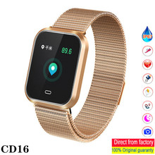 CD16 Smart watch blood Pressure heart rate monitoring IP67 sport step Fitness men; Fashion Watch for iOS and Android