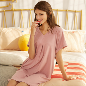 Image 4 - 2020 ฤดูร้อนหญิง Sweety Lace Sleepwear LADIES ชุดนอนผ้าฝ้ายผู้หญิงสั้นแขนยาวคอชุดนอน PLUS ขนาด XXL
