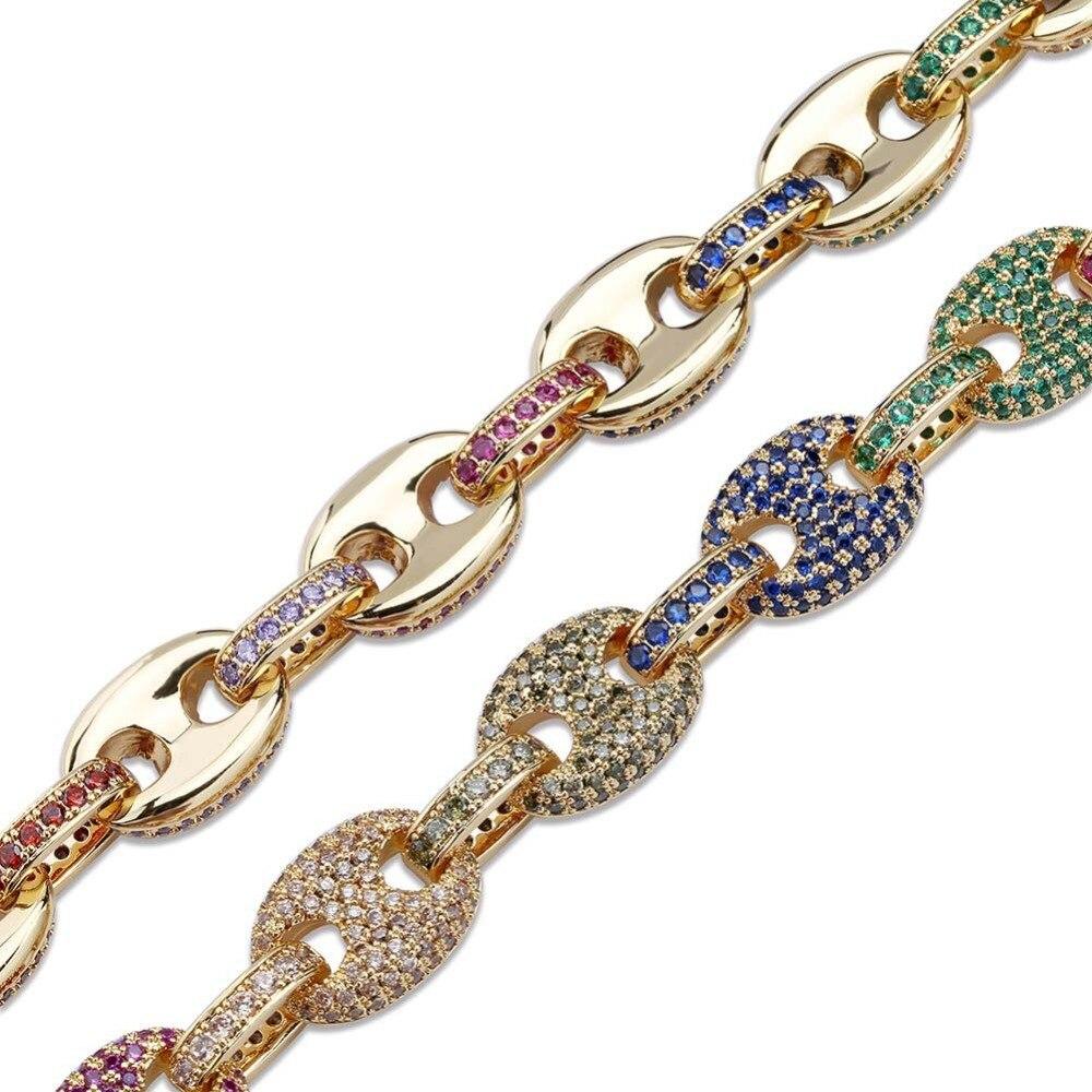 Hommes/femmes mode Hip Hop bijoux Micro Pave coloré cubique zircone solide bouton chaîne arc-en-ciel Bracelet 7 8 pouces - 5