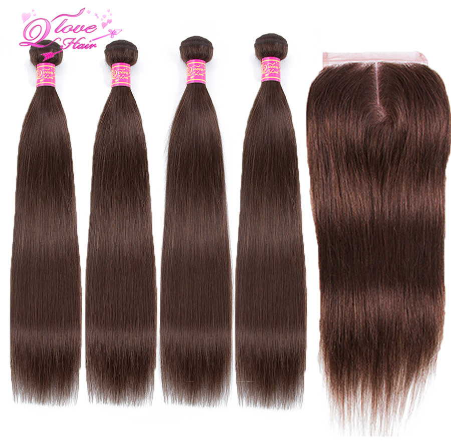 Queen Love Pre-colored Brazilian Hair Straight 100% Human Hair Weave #4 Color 3 Bundles With Closure Hair Extension Remy
