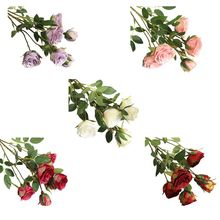 6 Heads Artificial Rose Flowers Fake Green Leaves Bridal Wddding Bouquet Decor 83XF