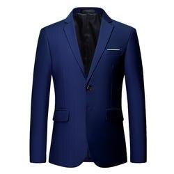 HCXY 2018 белые свадебные блейзеры мужские Формальные платья одноцветная мужская куртка приталенный деловой мужской блейзер