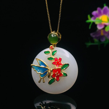 Fine jewelry cloisonne hetian white jade pendant women jewelry with 925 silver necklace cloisonne craft