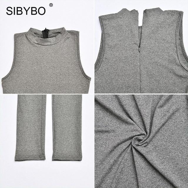 SIBYBO-Mono sin mangas entallado para mujer, traje de cuello redondo con cremallera invisible, outfit sexy para mujer, ropa de sport deportiva lisa 6