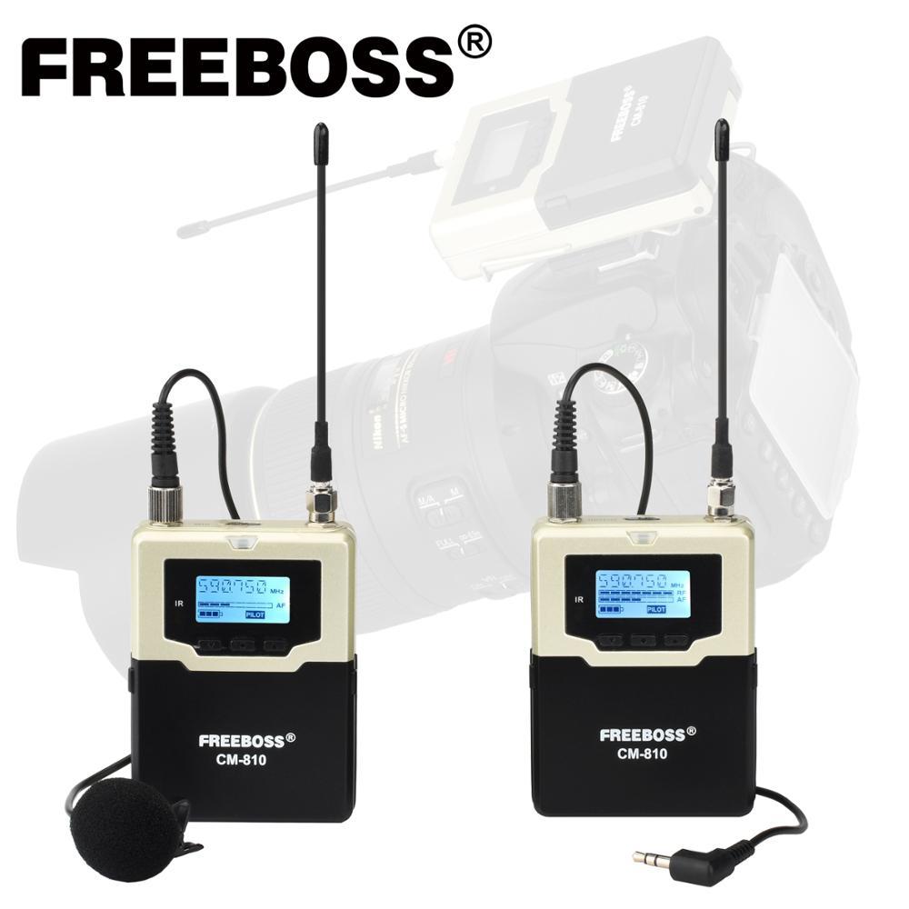 FREEBOSS CM-810 металлический поясной передатчик поясной приемник многочастотный Vlog камера для интервью речи Беспроводной микрофон