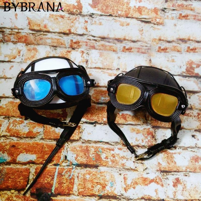 Bybrana BJD1/3 1/4 1/6 Doll Head Cap Pilot Helmet Motorcycle Helmet Transparent Blue/Brilliant Color Silver Customizable Size