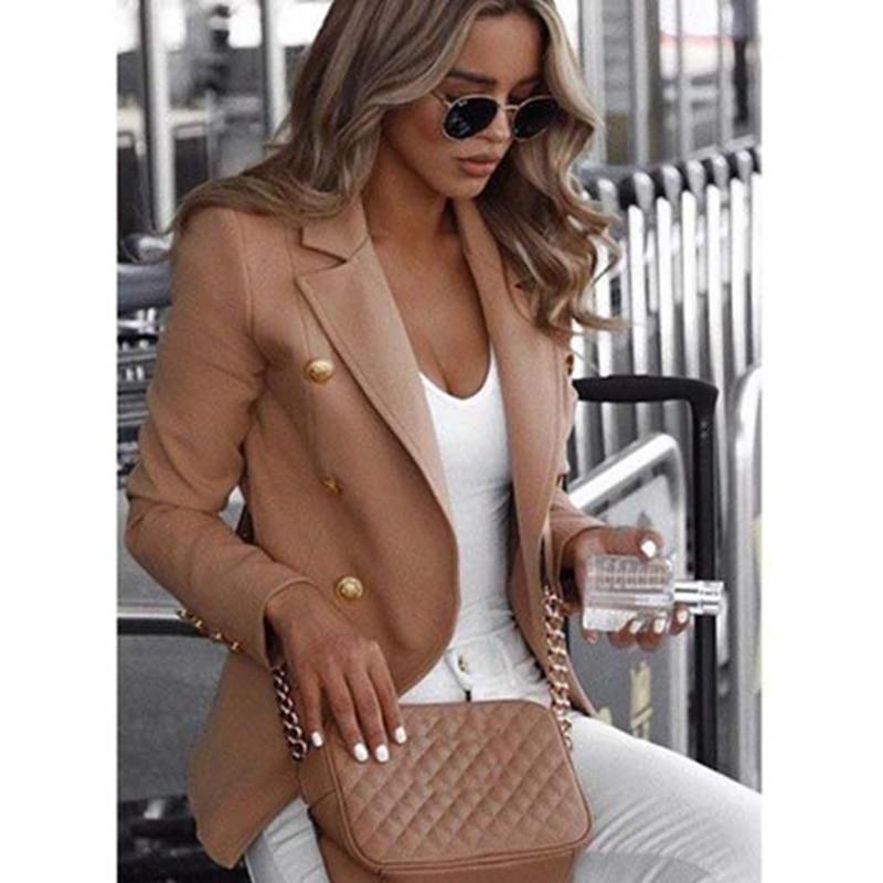 Turn-down Collar Blazer Autumn Winter Pockets Vintage Open Front Ladies Blazer Office Formal Business Fashion Jacket Outerwear
