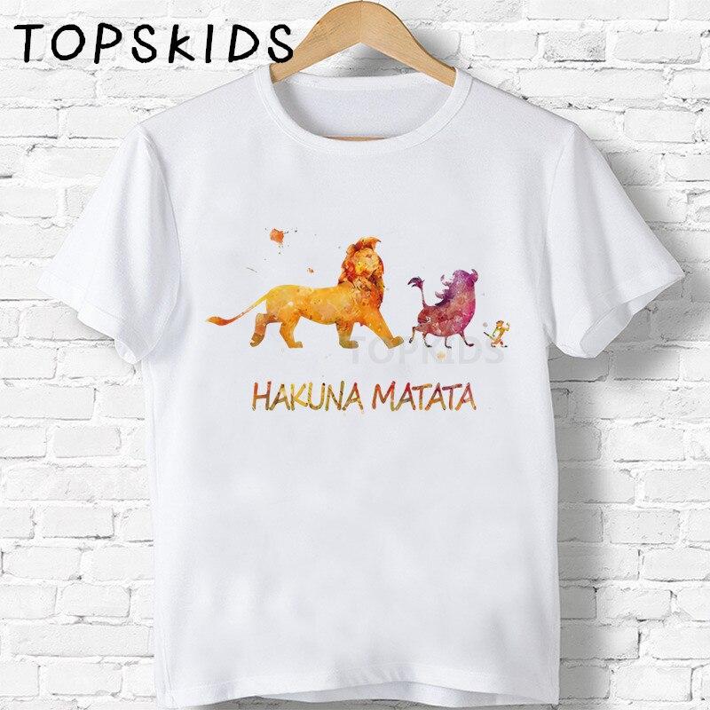 2019 Children Hakuna Matata Cartoon Lion King Print T-shirts Boys&Girls Funny Baby Tops Kids Summer O-Neck Tshirt,HKP2447