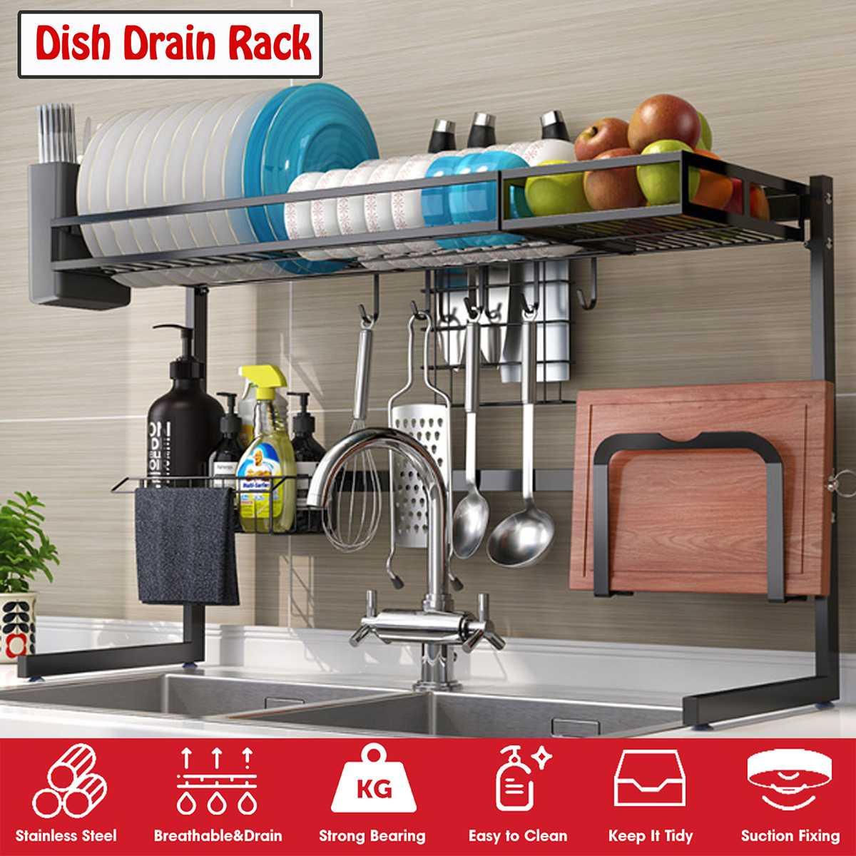 65/85cm Bowl Dish Dry Rack Stainless Steel Over Sink Kitchen Organizer Storage Shelf Holder Utensils Storage Organizer in Black