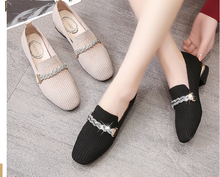 цена на Fashion high-heeled shoes 2020 new shallow mouth women's shoes professional work shoes square head fine high-heeled knitted shoe