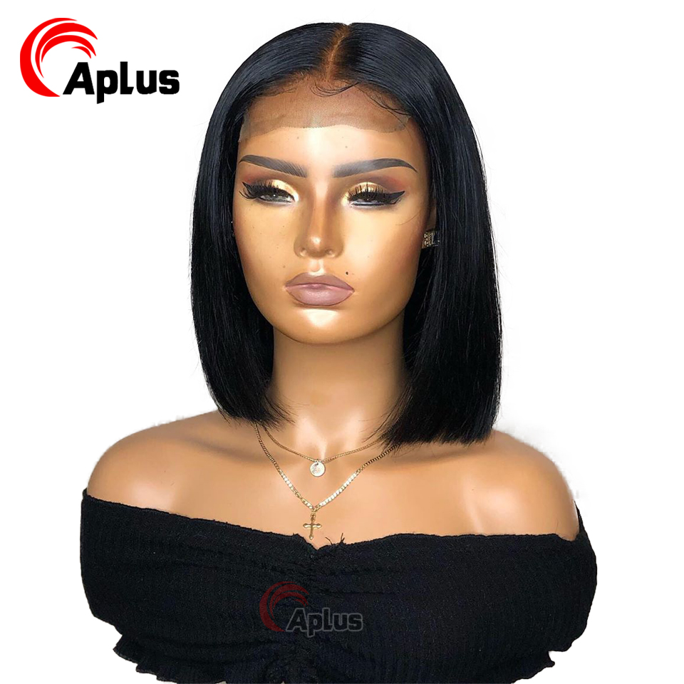 Bob Lace Front Wigs Preplucked 13x6 Straight Bob Frontal Human Hair Wig Deep Part Transparent Lace Wig Peruvian Remy 150 Density