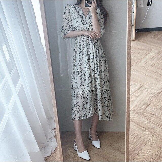 Gaganight Women Retro Floral Dress Cross V Neck Wooden Ear Slim Long Vestido Summer Elegant Chiffon Short Sleeve Dresses Femme 3
