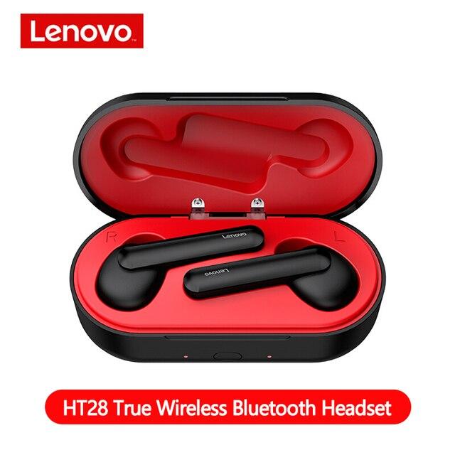 Auriculares inalámbricos Lenovo HT28 TWS True Bluetooth 5,0, auriculares de graves profundos HD estéreo, auriculares con cancelación de ruido, auriculares de mango largo