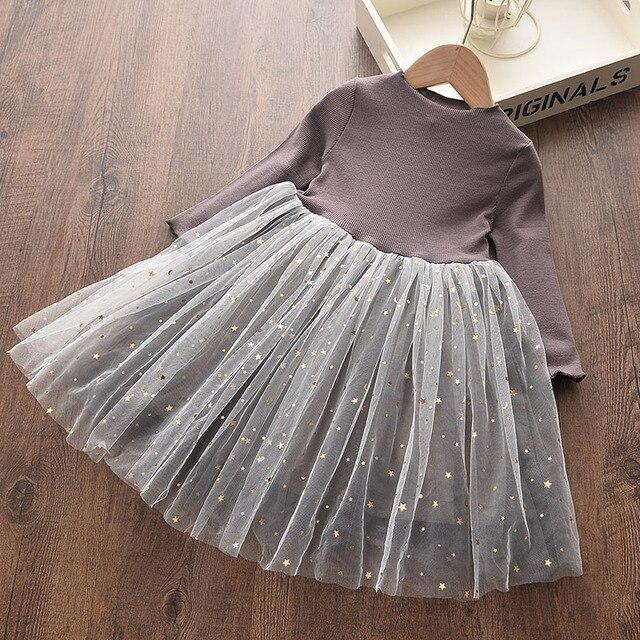 Menoea Baby Girl śliczny kostium jesień 2020 dzieci dziewczyny siatka bawełniana sukienka z długi rękaw bufka księżniczka sukienki dziewczyny sukienka