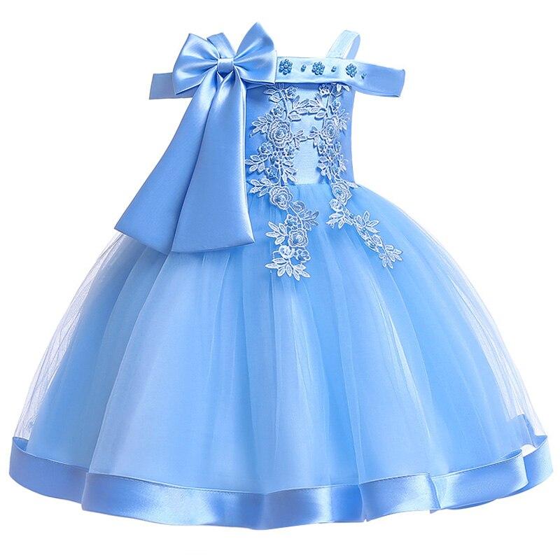 Новинка; платье принцессы для дня рождения, банкета, банкета, с бретельками; кружевное платье с цветочным узором для девочек на свадьбу; праздничное платье с рукавами; vestidos - Цвет: shy blue