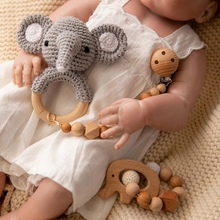 1set Baby Rattle Wooden Crochet ANIMALS Bells Music Teething Bracelet Pacifier Dummy Clips Gym Play Rodent Baby Products Toy