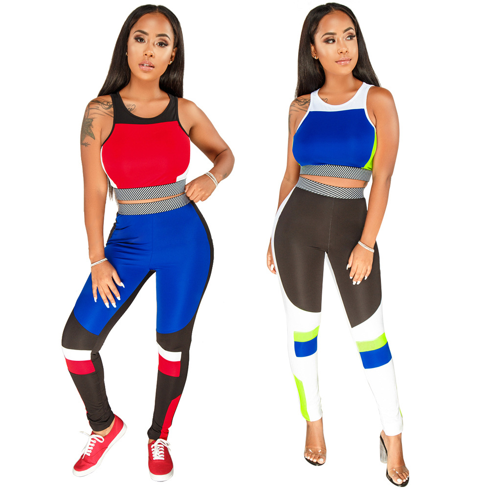 [Currently Available] YM-8238 Amazon AliExpress Hot Selling Europe And America-WOMEN'S Dress Sports Casual Two-Piece Set