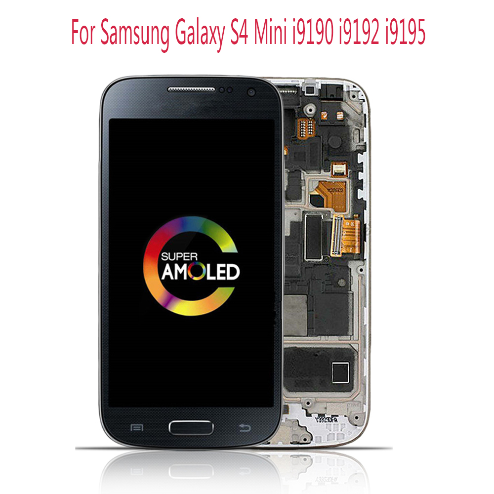 Sinbeda AMOLED Mobile Phone 4.3 Display For Samsung Galaxy S4 Mini i9190 i9192 i9195 LCD Touch Screen Digitizer Assembly Frame image
