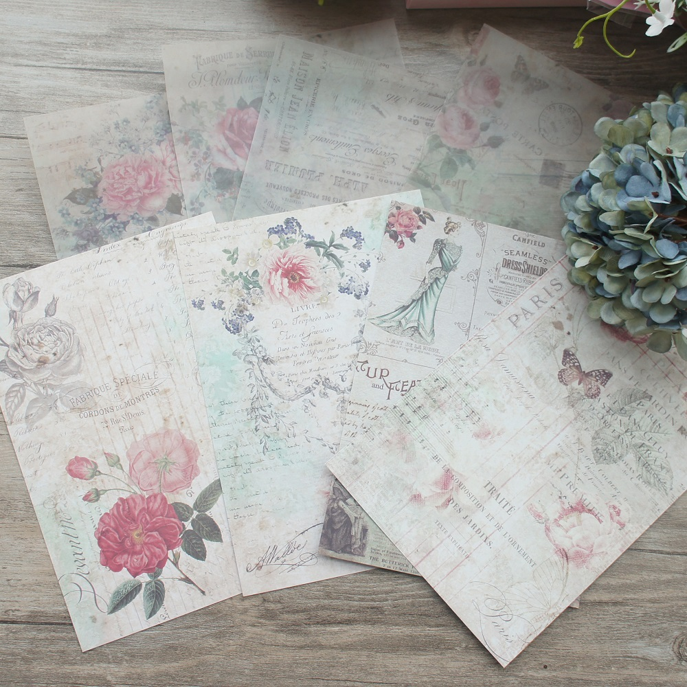 8 Sheets/lot 14*20cm Victorian Era Beauty Lady Paper Design Wrapping Creative Craft Background Scrapbook Paper(China)