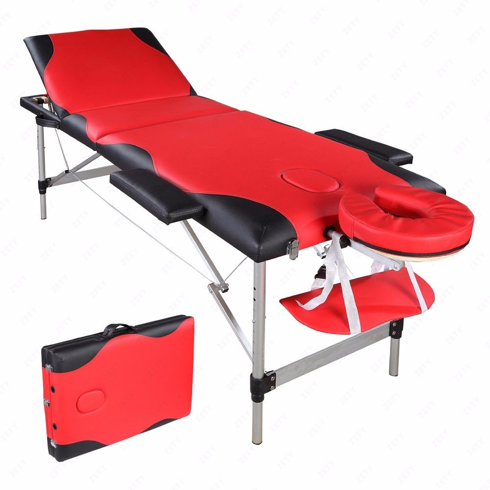 3 Folding Aluminum Tube SPA Bodybuilding Massage Table PU High Quality Black Red Color Ship Fast