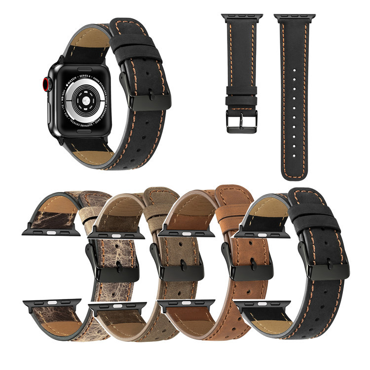 Suitable For APPLE Watch 1234 Generation Crack Genuine Leather Black Buckle Watch Strap IWatch Leather Watch Strap