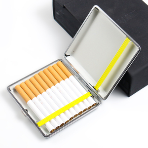1PC Cigarette Case Box Classical Faux Leather Metal Cigarette Box Container Smoking Accessories Tobacco Case for Men's Gift