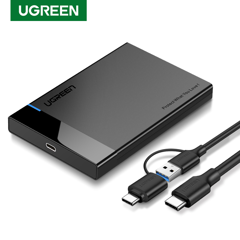UGREEN HDD Case 2.5 USB C 2-IN-1 SATA To USB 3.1 Gen 2 6Gbps External Hard Disk SSD Case For Seagate Toshiba Fujitsu 2.5 HDD Box