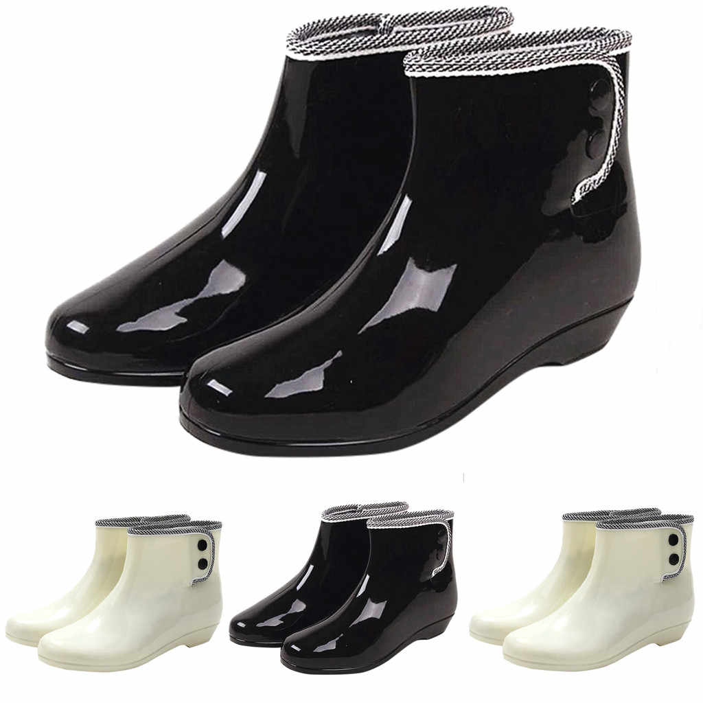 Slip-on Black Ankle Boots For Women Fashion Rain Boots Women Waterproof Snow Boots Women Waterproof Ботинки Женские Boots Women