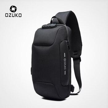 OZUKO 2019 Nova Multifuncional Saco Crossbody para Homens Anti-roubo Sacos Masculino bolsa de Ombro Mensageiro Saco de Viagem No Peito À Prova D