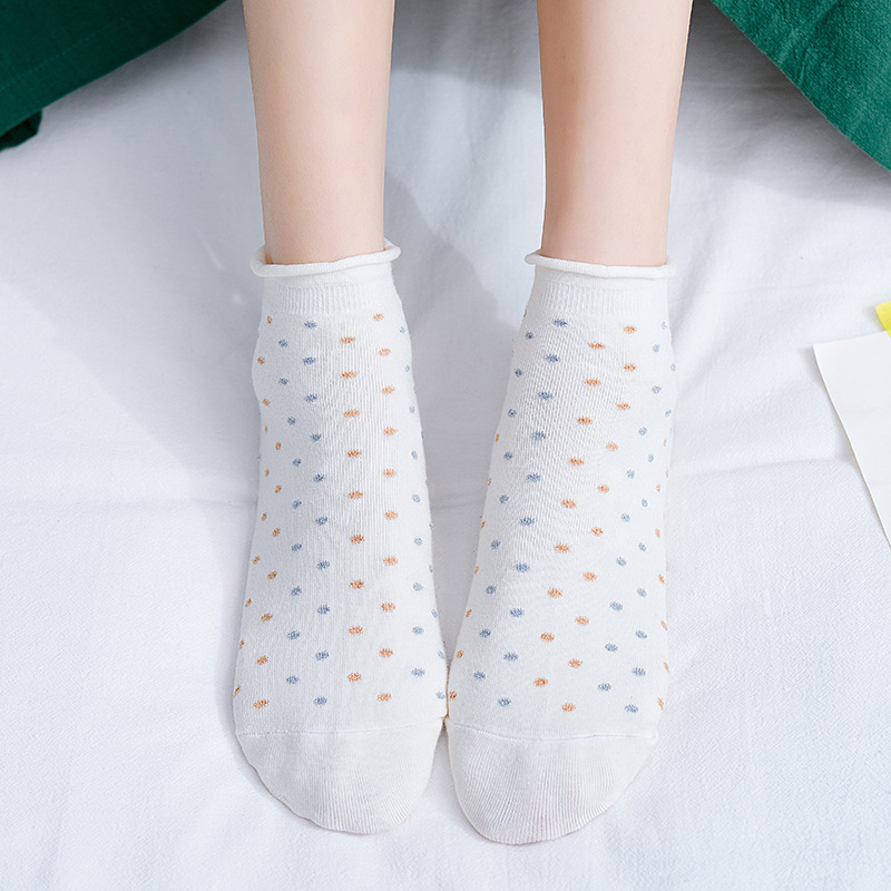 New Dots Women Socks Fashion New Casual Cotton Short Socks Breathable Comfortable Deodorant Sweat-absorbent Ankle Women's Socks