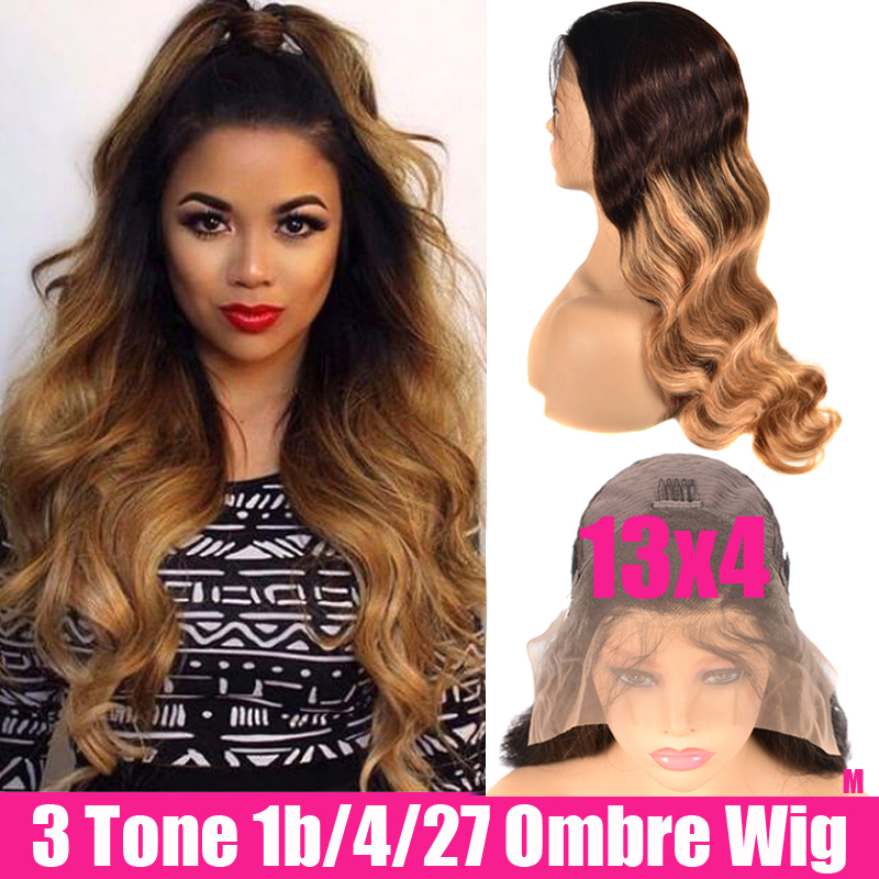 13x4 Glueless Ombre Lace Front Human Hair Wigs Pre Plucked Body Wave Wig Remy Brown Brazilian Lace Front Wigs For Black Women