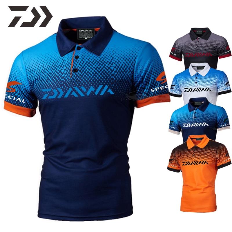 Daiwa Clothing Fishing T Shirt Men Polo Shirt Cotton Casual Fishing Shirt Short Sleeve Breathable Fishing Clothes Outdoor Summer