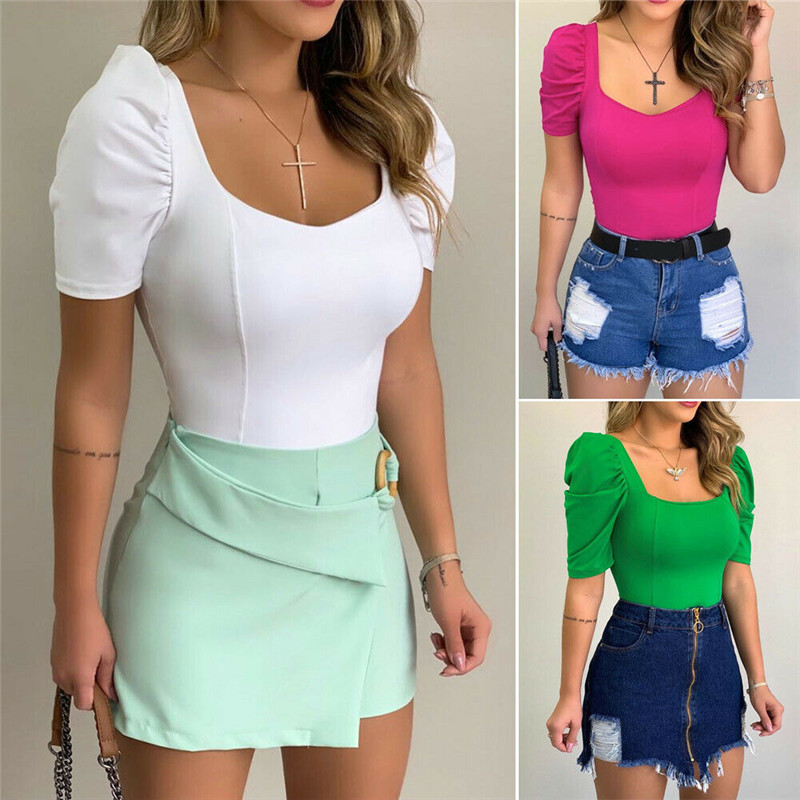 2020 New Women Slim Pullover Shirt Blouse V-neck Ladies Summer Puff Short Sleeve Solid Tops Shirt Tee Fashion Clothes S M L XL