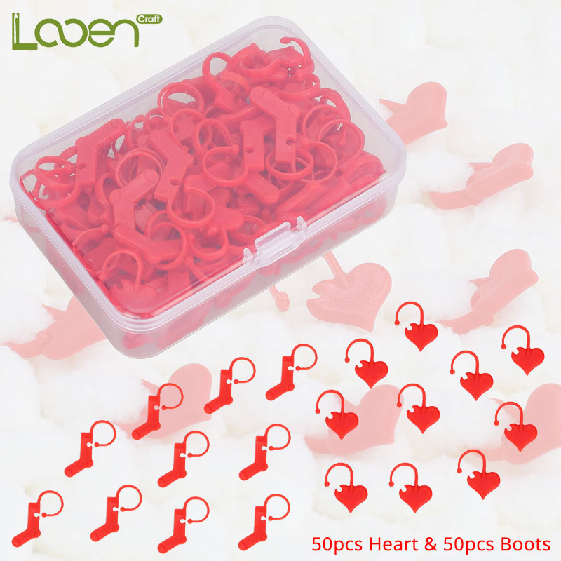 Looen 100pcs/lot Red Stitch Markers DIY Weave Heart Boots Knitting Crochet Locking Holder Sewing Tools Accessories With Case